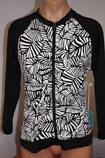 NWT Caribbean Joe Swimsuit Rash Guard Long Sleeve Top Sz 8 Black Zipper