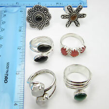 Free Shipping Bulk Lot 6 Pcs ! 925 Silver Plated Assorted RINGS, WELL MADE GIFT