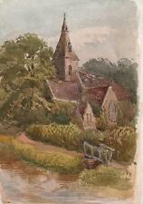 LAURENCE GEORGE BOMFORD Painting c1895 IMPRESSIONIST CHURCH IN LANDSCAPE