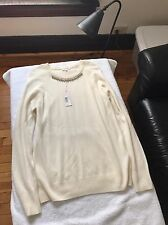NWT Rebecca Taylor White Embellished Neck Pullover -- Size L -- Retail $350