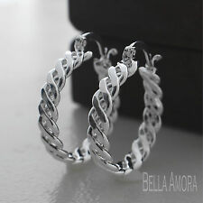 Elegant 925 Stamped Silver Twist Hoop Earrings 22mm - New -121
