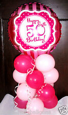 """AGE 50 50TH BIRTHDAY 18"""" FOIL BALLOON TABLE DISPLAY DECORATION AIR FILL berry"""
