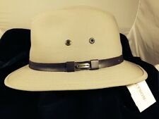 STETSON * KHAKI FEDORA SAFARI HAT XXL * NEW MENS CANVAS REPELS WATER SHADY GOLF