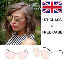 NEW Rose Gold Mirrored Cat Eye Sunglasses DESIGNER STYLE UK SELLER + FREE CASE