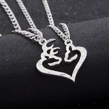Her Buck His Doe Heart Necklace 2 PC Set Browning Interlocking Deer