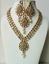 Indian Bollywood Traditional White Kundan Gold Tone Party Fashion Jewellery Set