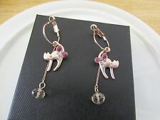 9ct Yellow Gold Filled Cat Drop Earrings with Clear and Champagne Gemstone E0269