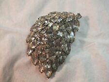Vintage Signed Weiss Clear Rhinestone Fancy Domed Leaf Silver Toned Brooch