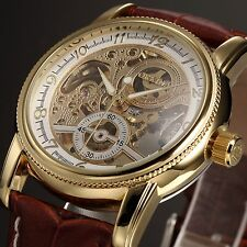 ORKINA Gold White Skeleton Automatic Mechanical Brown Leather Men's Wrist Watch