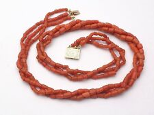 Superbe ancien collier 3 rangs perle de corail rouge fermoir or 18k