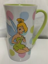 Disney Tinkerbell Polka Dot Tall Coffee Mug Cup Tinker Bell Peter Pan Fairy