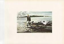 """1972 Vintage HUNTING """"THE COOT HUNTER, 1941"""" ANDREW WYETH MAINE Color Lithograph"""