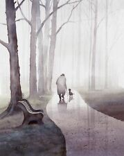"""Old Man Walking his Dog in Rain 12""""x15"""" signed watercolor painting giclee print"""
