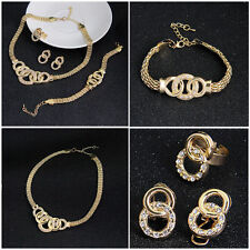 Women Fashion Gold Plated Crystal Bridal Jewelry Sets Alloy Necklace Earring Set