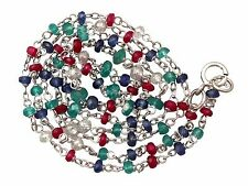 Diamond, Sapphire, Ruby, Emerald and 18 ct White Gold Necklace - Contemporary 20