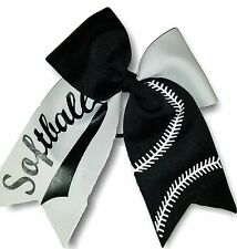 Black and White Softball Hair Bow Free Personalization!