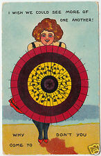 POSTCARD - Seaside Bathing Beauty & Parasol - See More Of One Another c1900s era
