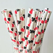 Paper Straws Red Poker Pattern For Party Birthday Wedding 25Pcs Biodegradable