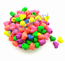 50Pcs 11*9*8mm Mixed Color Matte Rubber Neon Heart Acrylic Spacer Loose Beads