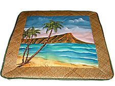 "HP Hawaiian Diamond Head Hawaii Lauhala Weave Quilted Pillow Case Cover 18"" New"