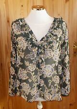 ZARA dark olive green blue paisley floral chiffon long sleeve tunic blouse top M