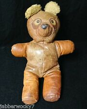 Rare Leather Teddy Bear appears to be made  from Pilot's Bomber Jacket - Antique