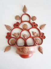 Mexican Clay Tree of Life Wall Hanging Vintage Pottery Planter Mexico Birds Folk