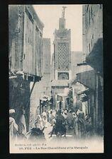 Morocco FEZ FES Rue Cherabliane Mosque c1900/20s? PPC