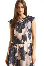 LITTLE MISTRESS NUDE AND NAVY SHEER FLORAL TOP SIZE 14 RRP £32 BOX8437 N
