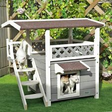 Outdoor Cat House Dog Pet Waterproof Solid Wood Shelter Deck Ramp Weatherproof