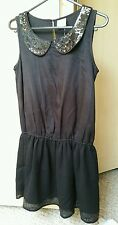 BNWT Girls 'NEXT' Gorgeous Sequin Embellished Formal Party Black Dress 11yrs £19