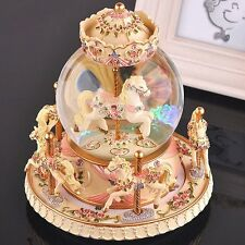 LOHOME Rotate Music Box, Luxury Carousel Crystal Ball Glass Ball Doll Miniature