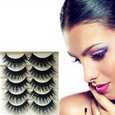 5 Pairs Blue+Black Long Thick Cross False Eyelashes Handmade eye lashes New