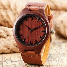 Fashion New Genuine Leather Band Men Women Nature Wood Bamboo Quartz Wrist Watch