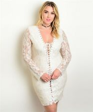 WOMEN'S PLUS SIZE SEXY IVORY W/GOLD SHIMMER LACE CORSET BODYCON DRESS 2XL NEW