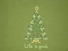 LIFE IS GOOD WOMENS S/S CRISTMAS TREE LIGHTING T-SHIRT SIZE L
