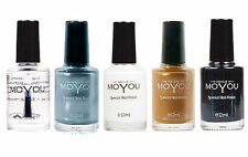 MoYou Stamping Nail Polish Mystic Stone, White, Emperor's Gold, Black & Coat