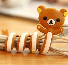 FD2399 Rilakkuma Relax Bear Earphone Headphone Cable Cord Organize Wrap Wind 1pc