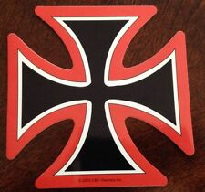 """Choppers Iron Cross Red Outline Sticker 4.5""""x4.5"""""""