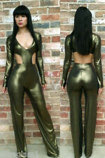 GREEN WET LOOK Cut-Out CATSUIT/JUMPSUIT COSTUME/DRAG QUEEN/ Sz: 8-14 (Maybe 16)
