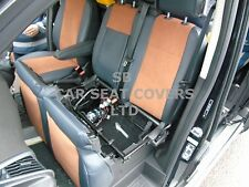 TO FIT A FORD TRANSIT LPG CUSTOM VAN, SEAT COVERS, BLACK LEATHERETTE / TAN SUEDE