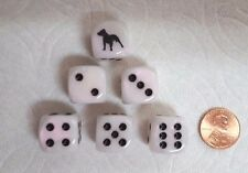 DICE   *6/SET* CHX CUSTOM PIT BULL TERRIERS ON 16mm MOTHER-OF-PEARL w/BLACK PIPS