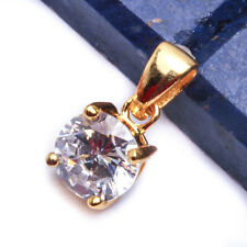 SOLITAIRE SETTING YELLOW PLATED .75ct ROUND CZ  .925 Sterling Silver Pendant