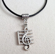 Antique Silver Treble Clef Music Pendant  Leather Necklace ladies Mens Gift