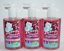 3 BATH & BODY WORKS TWISTED PEPPERMINT ANTI BACTERIAL HAND SANITIZER GEL LARGE