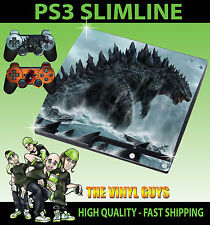 PLAYSTATION ps3 SLIM Adesivo Godzilla King Lizard Skin & MONSTER SEA 2 Pad Pelle