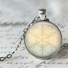 Vintage snowflake Cabochon Silver plated Glass Chain Pendant Necklace #D121