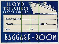 "Shipping Company LLOYD TRIESTINO ITALY * OLD LUGGAGE LABEL VALIGIA Adesivo ""L"""