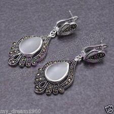 Fashion Women's Opal Drop Gemstone 925 Sterling Silver Marcasite Dangle Earrings