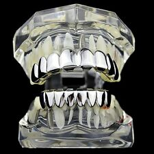 Best Grillz 8/8 Set Eight Top 8 Bottom Tooth Grill Silver Tone Hip Hop Teeth